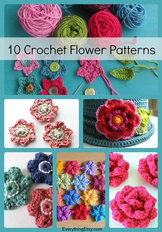 10 Patterns Crochet Flor - Projetos gratuitos em EverythingEtsy.com