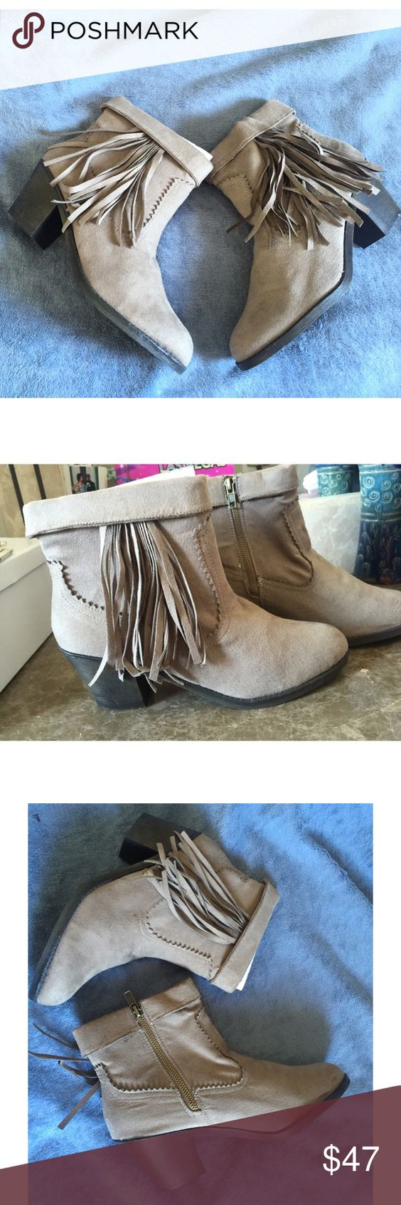 "Grey suede fringe booties Trendy gray fringe booties . Zipper closure , heel height around 3"" inches.  Never before worn cute grey bootie ! Very comfortable for fall ! Shoes Ankle Boots & Booties"