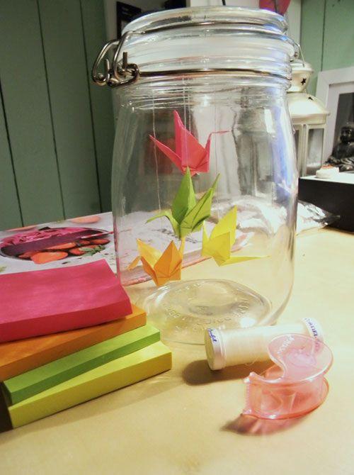 Un gros coup de coeur pour ce bocal de grues en origami chez Sunshine of Mine!