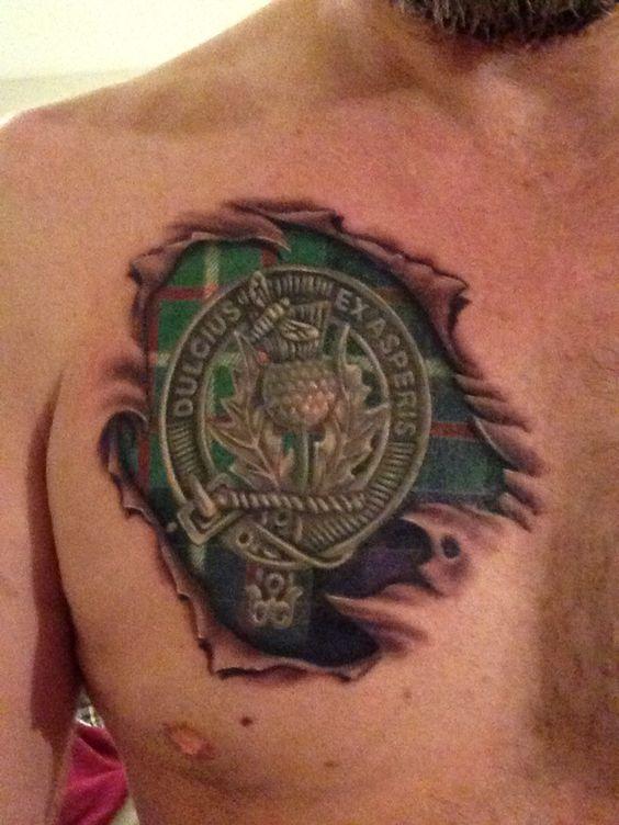 Ferguson Clan crest and tartan chest tattoo   Ferguson ...