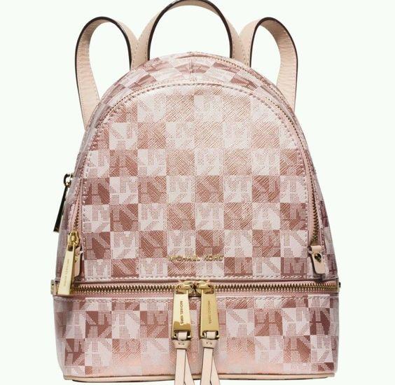 Michael Kors Purse Rose Gold \u0026#39;Rhea Zip\u0026#39; Signature Checkerboard Small Backpack | Clothing, Shoes \u0026amp; Accessories, Women\u0026#39;s Handbags \u0026amp; Bags, Backpacks \u0026amp; Bookbags ...