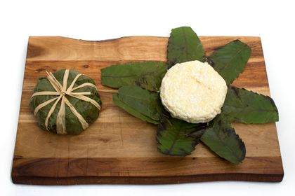 2012 03 19   Robiola Foglie di Castagna   goat cheese wrapped in chestnut leaves