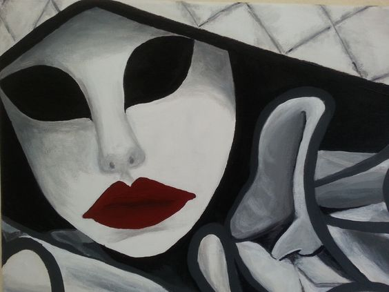 Third Acryl Painting - Mask Series I love the Venetian Masks <3
