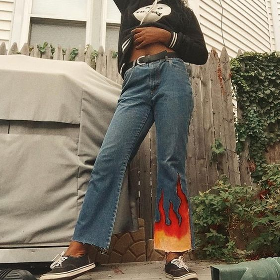 Liar liar pants on fire./// hate the flames. but reminds me that highwater bellbottoms are too good & need to come back already (ok, highwaters were never cool but still..)