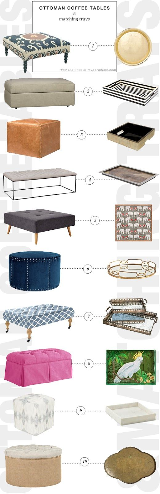 Ottomans Trays And Coffee On Pinterest