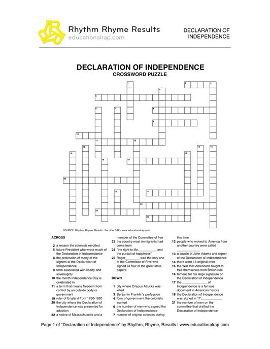 Declaration of independence worksheets for high school