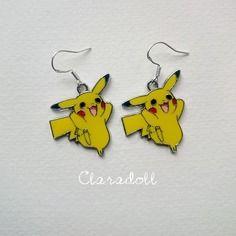 """Boucles d'oreilles crochets argent 925  """"pika pika"""" pokemon, pikachu"""