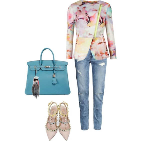 A fashion look from July 2015 featuring Ted Baker jackets, H&M jeans and Valentino pumps. Browse and shop related looks.