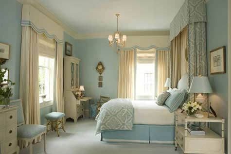 Soft warm blue and cream is very calming and perfect for a bedroom.
