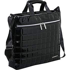 Earth Axxessories Quilted RPET Laptop Shoulder Bag - Black - via eBags.com!