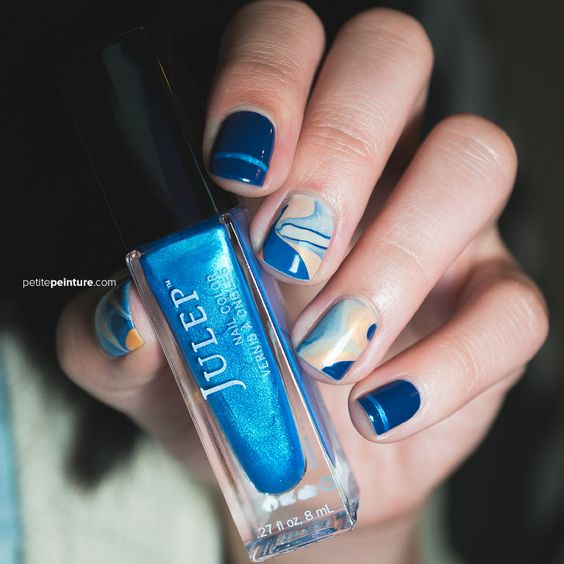 Blue Orange Watermarble Petite Peinture Nail Art Brave Pretty Julep