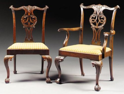 """Chippendale chairs in the """"Cupid's Bow"""" form (original site describes others)"""
