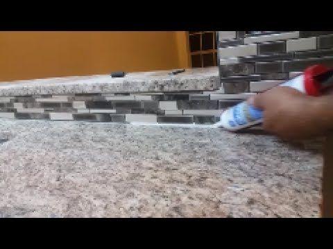 How To Caulk On A Kitchen Backsplash Seal The Gap Between Granite And Mosaic Green Granite Countertops Granite Backsplash Kitchen Redo Kitchen Counter Tops
