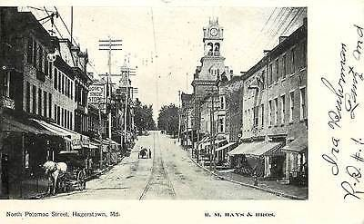 Hagerstown Maryland MD 1905 Town North Potomac Street Antique Vintage Postcard