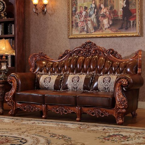 Charm Master European Style Leather Sofa 123 Sets Of Solid Wood Living Room Furniture Wood Furniture Living Room Living Room Sets Furniture Leather Sofa Set