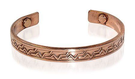 """Copper Tone with Magnet attached to both ends 0.50"""" Wide Indian Traditional Cuff Bracelet 7"""" Long Gem Avenue. $10.99. Shiny Finish Copper tone Bracelet. 0.50 inches wide Bracelet. Gem Avenue sku # JBM017. Copper Indian Traditional Magnetic Bracelet 7 inches. 2 Magnets with 2000 Gauss each. Save 50%!"""