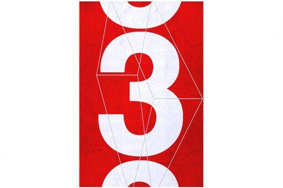 Tableau Number 3 rouge sur plexiglas