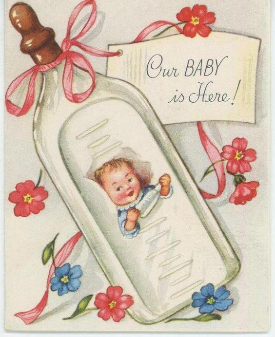 VINTAGE BABY BIRTH ANNOUNCEMENT NIPPLE MILK BOTTLE GREETING CARD – Vintage Birth Announcement