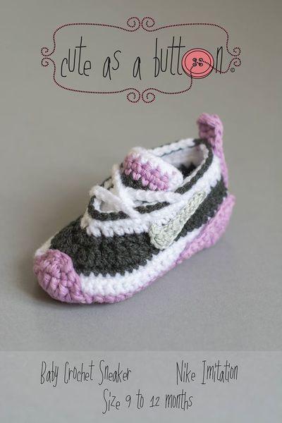 Anleitung Häkelschuhe Nike DEUTSCHE ANLEITUNG von Cute as a button auf DaWanda.com