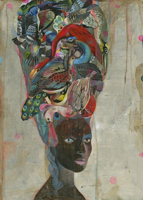"""Olaf Hajek, """"Antoinette Birds"""" serie """"Black Antoinette"""""""