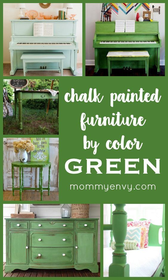 Chalk Painted Furniture by Color Series GREEN | The green pianos are one of my favorites in this series! | Green painted furniture makes a statement piece! | www.mommyenvy.com