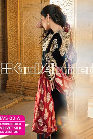Gul Ahmed Embroidered Silk Velvet Coat Collection 2014