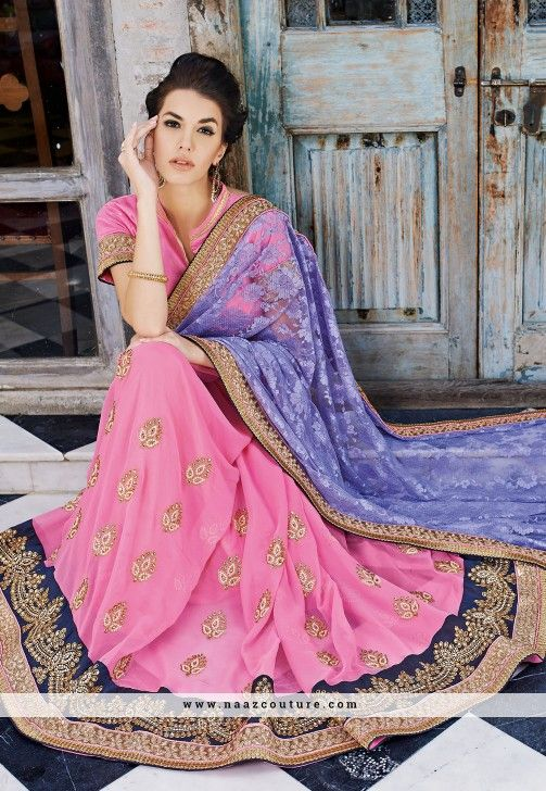 Graceful Pink And Purple Georgette Half N Half Saree