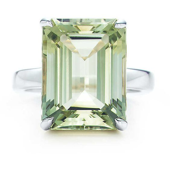 Tiffany Sparklers Green Quartz Cocktail Ring (€945) ❤ liked on Polyvore featuring jewelry, rings, tiffany co rings, emerald cut ring, prasiolite jewelry, cocktail ring and emerald cut cocktail ring: