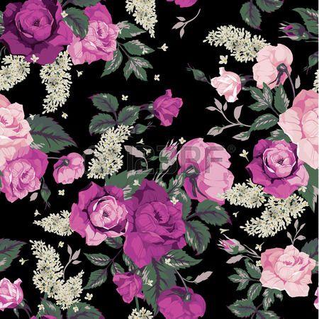 28216202 nahtlose blumenmuster mit rosa rosen auf schwarzem hintergrund vektor illustration. Black Bedroom Furniture Sets. Home Design Ideas