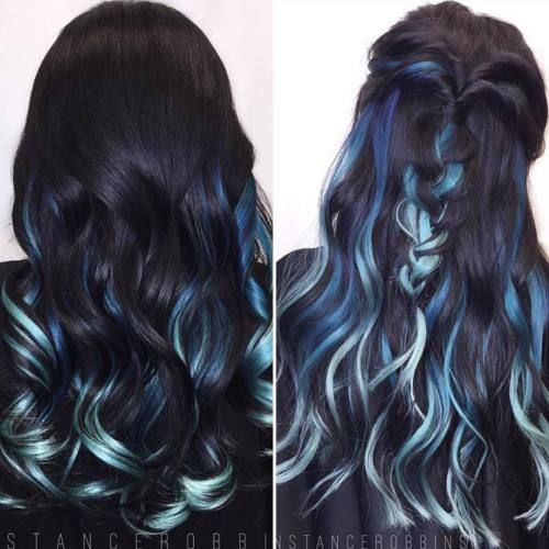 Photo Tumblr Blue Hair Highlights Hair Streaks Hair Color