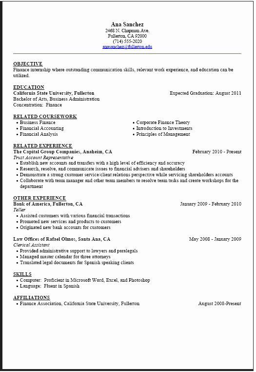 Computer Science Internship Resume Luxury Internship Resume Sample Career Center Internship Resume Student Resume Student Resume Template