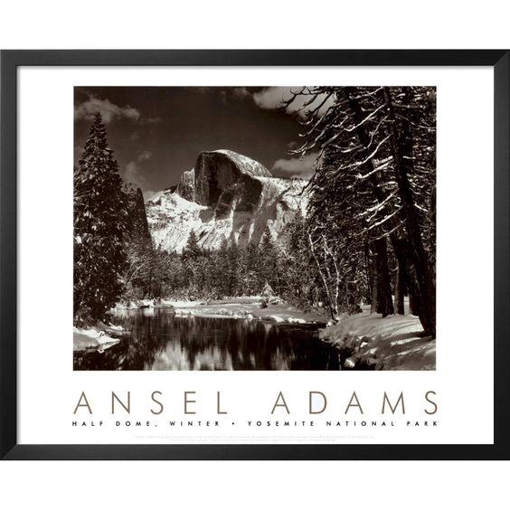 Art.com - Merced River Winter by Ansel Adams Framed Print