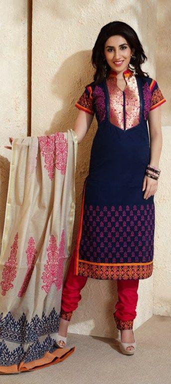 406235: Blue color family unstitched Party Wear Salwar Kameez.