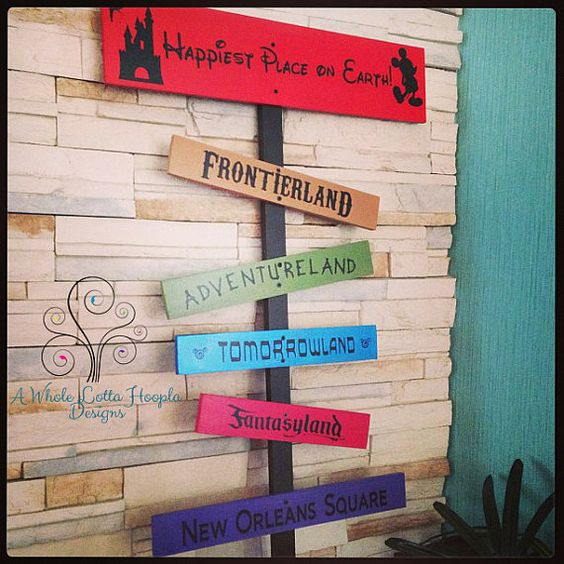 "A Disney-inspired sign depicts the lands of Disneyland, the ""Happiest Place on Earth"""