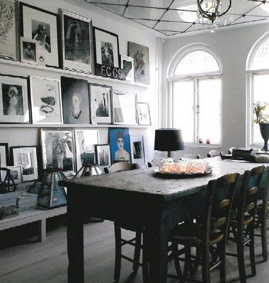 A vintage-inspired display, in the dining room: Picture Ledge, Dining Room, Photo Display, Photo Wall, Diningroom, Gallery Wall, Art Wall