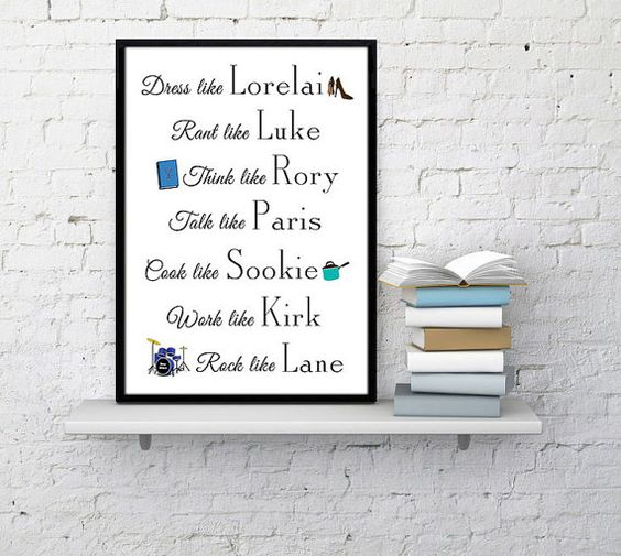 Gilmore Girls. Check out this item in my Etsy shop https://www.etsy.com/listing/460309670/gilmore-girls-characters-lorelai-gilmore
