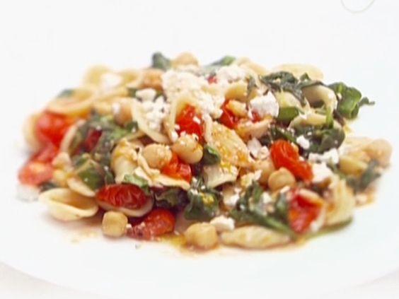 Orecchiette with Greens, Garbanzo Beans and Ricotta Salata #MyPlate #Grains #Pasta