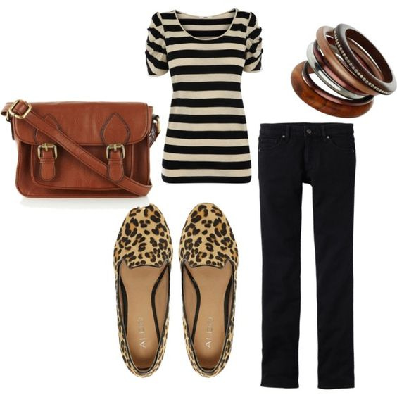 stripes, leopard shoes, and leather bag? YES PLEASE!