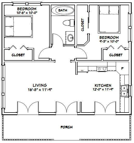 30x26 House 30x26h2c 780 Sq Ft Excellent Floor Plans Guest House Plans Tiny House Floor Plans Small House Floor Plans