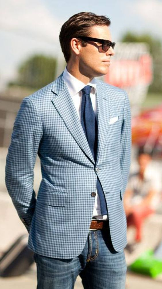 Plaid sport jacket with denim is a classic worth revisiting this