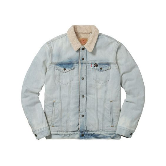 Supreme Supreme /Levi's Bleached Sherpa Trucker Jacket ($248) ❤ liked on Polyvore featuring trucker jacket