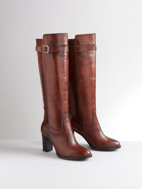 SOMEWHERE - Bottes femme à talon en cuir marron (AH13)