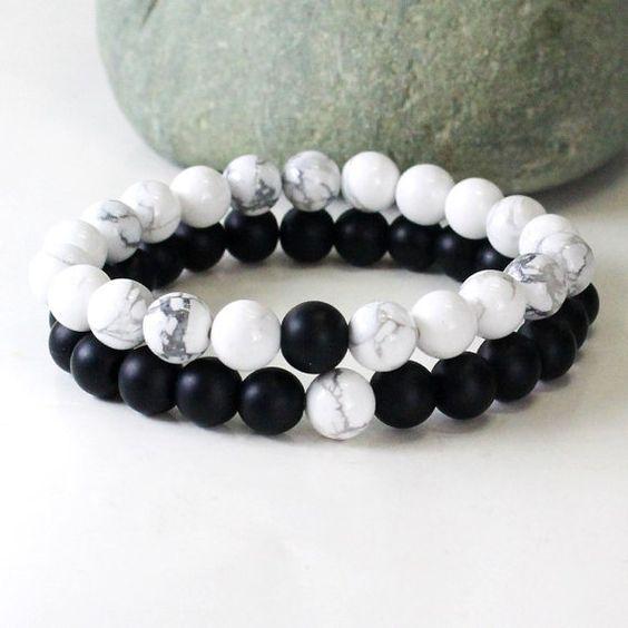Couples Bracelet, couple bracelet, howlite bracelet, onyx bracelet, friendship bracelet, relationship, bracelet set, couple gift, his hers