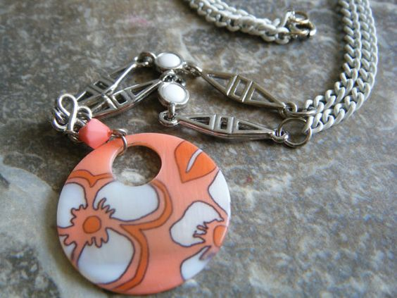 Citrus and White Summer Necklace on Etsy, $9.95