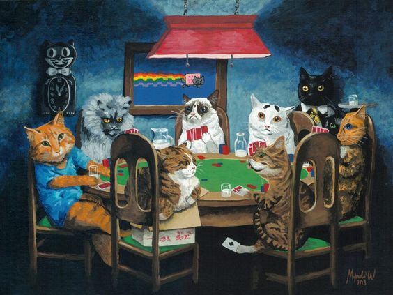 Keyboard cat, Colonel Meow, Grumpy Cat, Sam the worried cat, Business cat, Venus, Lil bub, Maru, and Nyan cat  Artist's page on Etsy: http://www.etsy.com/listing/125851207/grumpy-cat-internet-cats-playing-poker: