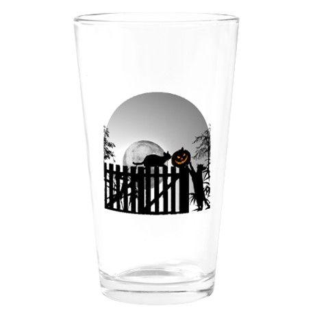Pumpkin, Cats, Moon and Shadows Drinking Glass