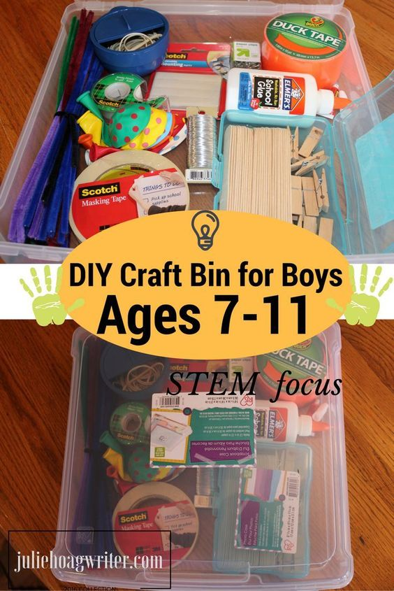 Diy craft bin with stem focus for boys ages 7 11 for Diy crafts for guys