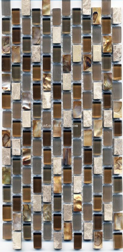 Yahly Brown Mother of Pearl Marble & Glass- Backsplash for Kitchen