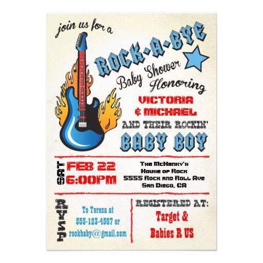Rock a bye rockstar baby shower Invitations