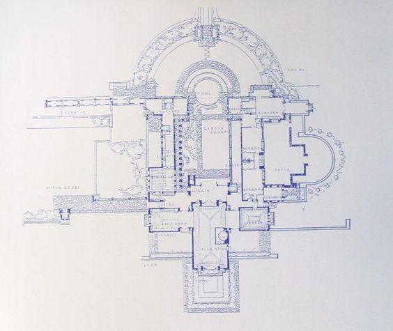 Frank Lloyd Wright Hollyhock House Blueprint by BlueprintPlace ...